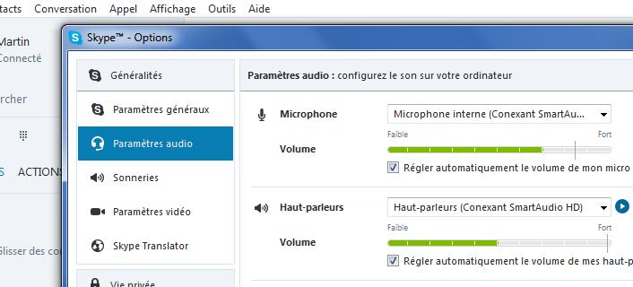 La fenêtre Options de Skype pour paramétrer l'audio et la vidéo