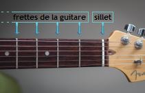 Les frettes sur une guitare