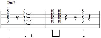Comping en Dm7 avec des voicings en drop 2