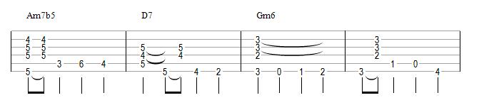 Am7b5 D7 Gm6 (II V I mineur)
