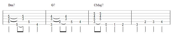 Dm7 G7 CMaj7 (II V I majeur)