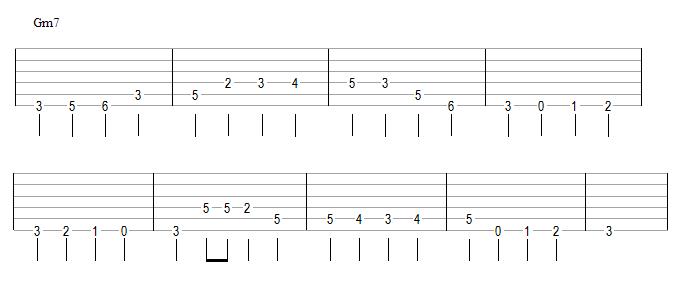 ligne de basse + riff (Gm7)
