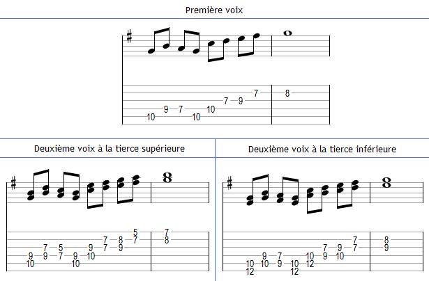Harmonisation d'une mélodie à la tierce