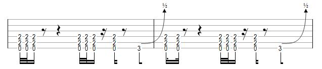 Riff adapté à la rythmique métal