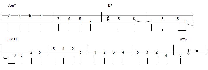 Une walking bass avec des blanches sur les 2 et 4