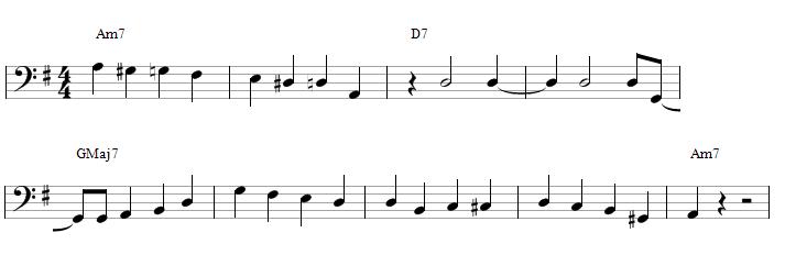 Une walking bass avec des blanches sur les 2 et 4 - partition