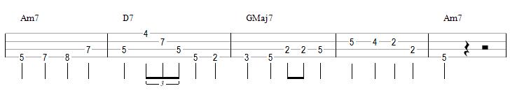 Une walking bass avec des triolets